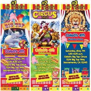 BIG TOP CIRCUS CARNIVAL BIRTHDAY PARTY INVITATIONS