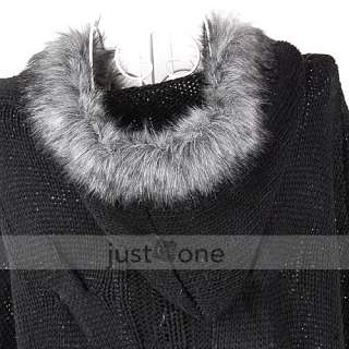 Trendy Women Girls Casual Faux Fur Hooded Bat Sleeve Loose Knit