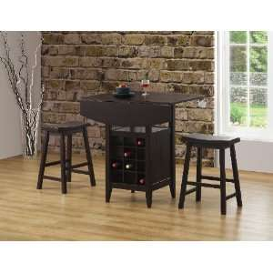 Coaster 3 Piece Pub Table Set in Cappuccino Finish