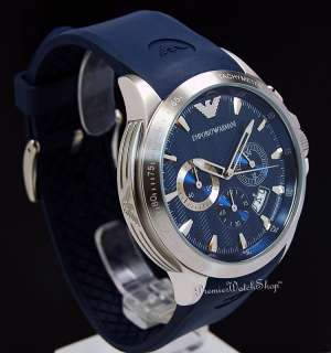 NEW EMPORIO ARMANI SPORT CHRONO AR0649   BLUE MENS CHRONOGRAPH WATCH