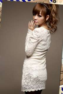 New Womens Japan Korea Lace Mini Dresses Long Top 0755