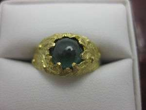 Blue Green Tourmaline and 18k Karat Yellow Gold Ring