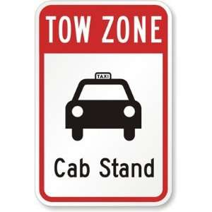 Tow Zone, Cab Stand Diamond Grade Sign, 18 x 12 Office