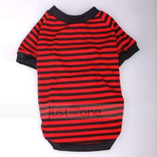 PET DOG APPAREL Clothes Costume Striped T Shirt XL red