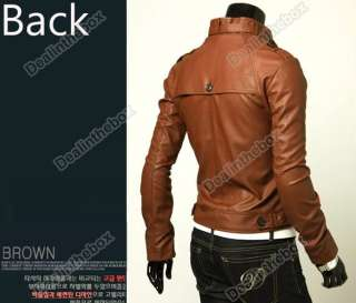 New Mens Slim Fit Top Jacket Coat Outerwear Designed PU Leather Short