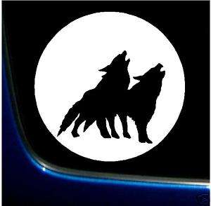 WOLF PACK FULL MOON SILHOUETTE VINYL DECAL STICKER 6x6