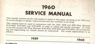 1960 Chrysler Plymouth Dodge DeSoto Service Manual CDN