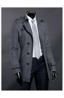 Shoulder Flap Gray Slim Fit Mens Single Coat US Size L