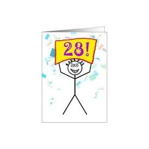 Happy 28th Birthday Stick Figure Holding Sign Card Toys & Games