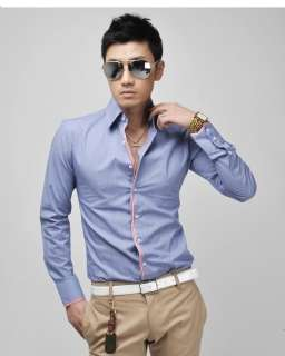 6059 Mens Casual Slim Fit Stylish Dress Shirts Sz XS L