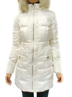 JUICY COUTURE WHITE FAUX FUR HOOD SHIMMER PUFFER DOWN LONG COAT JACKET