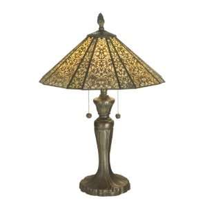 Dale Tiffany TT70740 Filigree Table Lamp, Antique Bronze and Art Glass
