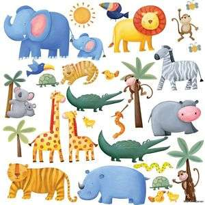 26 Jungle Animal Baby Boys/Girls Kids Room Wall Decals