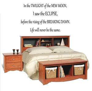 In the twilight of the new moon Vinyl Wall Decal Decor Art Letter