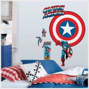 New CAPTAIN AMERICA SHIELD WALL DECAL Bedroom Stickers Vintage Comic