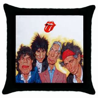 New* HOT THE ROLLING STONES Black Throw Pillow Case
