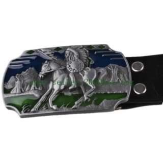 Mens/Boys New Fashion Western Horse Belt Buckle with PU Leather Belt
