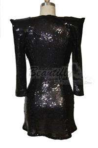 Sexy V neck Sequins Cocktail Ball Women Short Dress