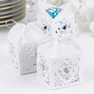 100) Die Cut Heart White Shimmer Favor Boxes Wedding Bridal Reception