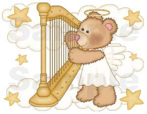 ANGEL BEAR BABY GIRL NURSERY WALL BORDER STICKERS DECAL