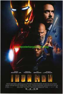 IRON MAN MOVIE POSTER ORIGINAL 1 SIDED FINAL STYLE ROBERT DOWNEY JR