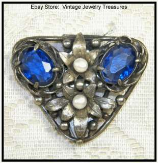 Art Deco Blue Czech Glass & Pearl Silver Ornate Fur Clip