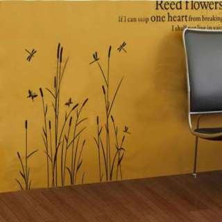 NEW Black Reed Flowers Decor Art Wall Sticker Paper