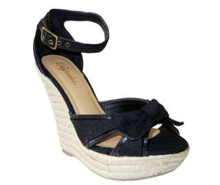 Adorable Canvas Bow Ankle Strap Espadrille Wedge Sandal Black