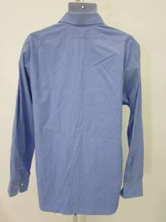 men s blue button down shirt size 34 long sleeves pointed collar