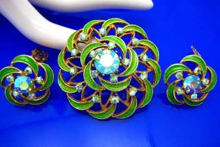 Vtg Blue Green Rhinestone Enamel Brooch Pin Earring Set