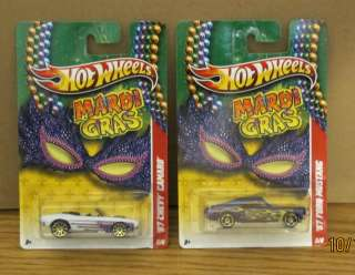 HOT WHEELS MARDI GRAS MUSCLE CARS 67 CHEVY CAMARO & 67 FORD MUSTANG
