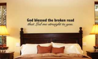 God Bless Broken Road Vinyl Wall Art Word Art Lettering