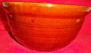 Pottery Large Dark Brown Mixing Bowl Maple Leaf Mark 10 1/8 Diameter