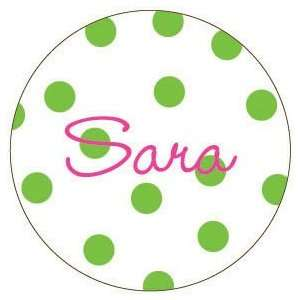 Green Polka Dot Personalized Magnet Baby