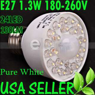 E27 180 260V 1.3W 130LM 24LED Motion Sensor LED Lamp Light Bulb