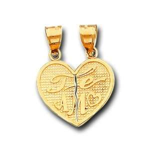 Solid Yellow Gold Te Amo Heart Split Charm Pendant IceNGold Jewelry