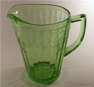 Jeannette Glass CHERRY BLOSSOM Green Depression Glass 36 oz Pitcher