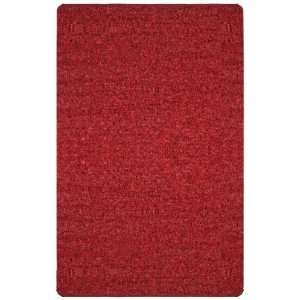 Short Red Leather Shag 5x8 Rug with