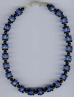 VINTAGE ART DECO FACETED BLUE GLASS BLACK BEADS CHOKER NECKLACE