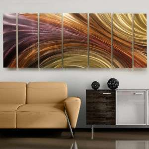 Large Modern Bronze/Gold Earth Toned Fine Metal Wall Art Painting