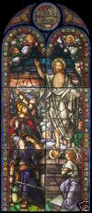 Antique Resurrection Church Stained Glass Window