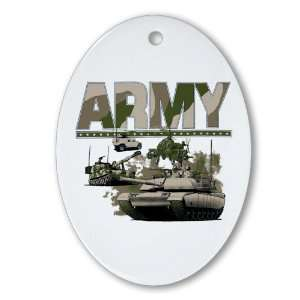 Ornament (Oval) US Army with Hummer Helicopter Soldiers