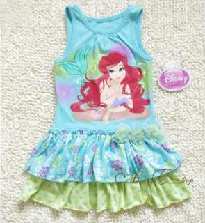 Size 2 3 4 5 6 6X Disney Princess Ariel Mermaid Summer Dress Skirt