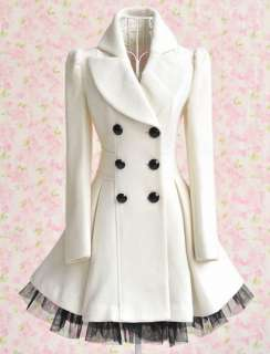 Cute Sweet Princess Lolita Gothic PUNK Long Lace Jacket Coat White S/M