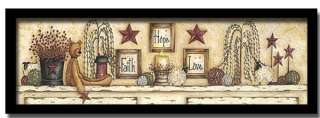 Faith Hope Love Teddy Bear Country Decor Print Framed