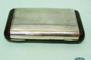 Italian Silver Mounted Wood Cigar Box Humidor Florence 1930s