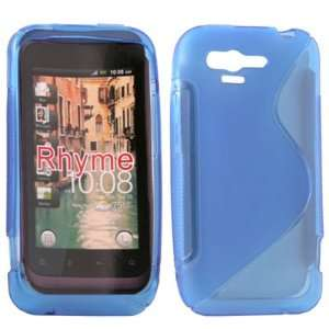 Rubber Skin Case Cover for HTC RHYME Blue Cell Phones & Accessories