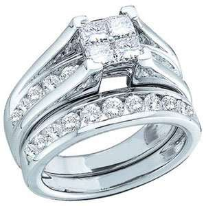 Round Diamond 10k White Gold Bridal Ring Set SeaofDiamonds Jewelry
