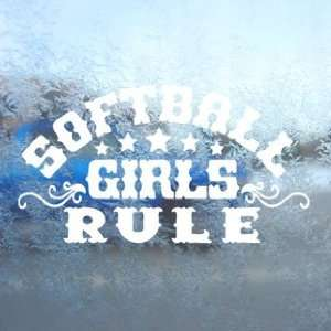 Softball Girls Rule White Decal Car Window Laptop White