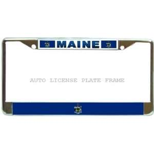Maine State Flag Chrome Metal Auto License Plate Frame